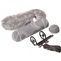 Rycote 086003 full windshield kit 2 - Includes small modular suspension + windshield 2 + windjammer 2
