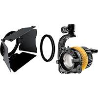 Dedolight SYS-DLED4-T - Tungsten Lighting System Including a 40w LED Light Head, 8-Leaf Barndoor, Power Supply and Light Shield Ring (SYSDLED4T)