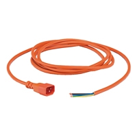 Canford Audio AC Mains Power Cordset IEC Male - Bare Ends - 3 Metres (Orange)
